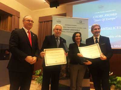 "CALRE Award – ""Stars of Europe"" to the Parliaments of Galicia and Azores, Wallonia and Friuli Venezia Giulia"