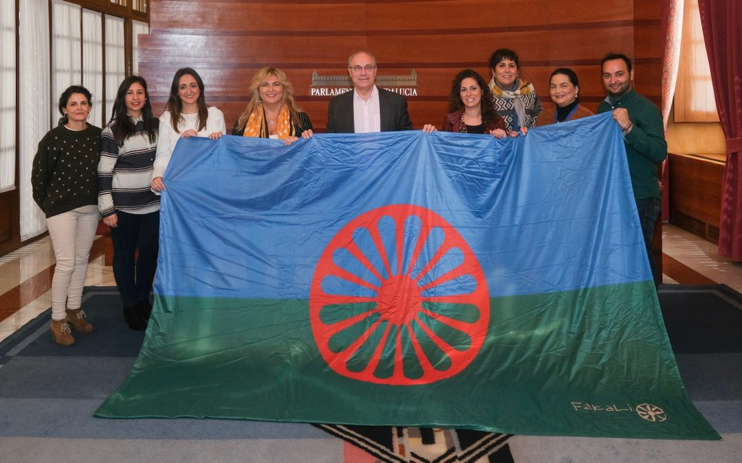 The Flag of the Gypsy People, in the Andalusian Parliament for the Day of the Andalusian Gypsies