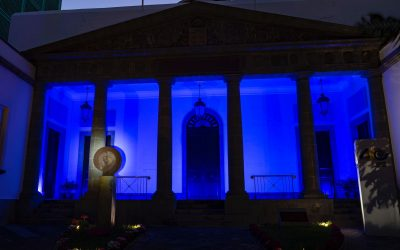 The facade of the Parliament of the Canary Islands is illuminated in blue to commemorate Europe Day